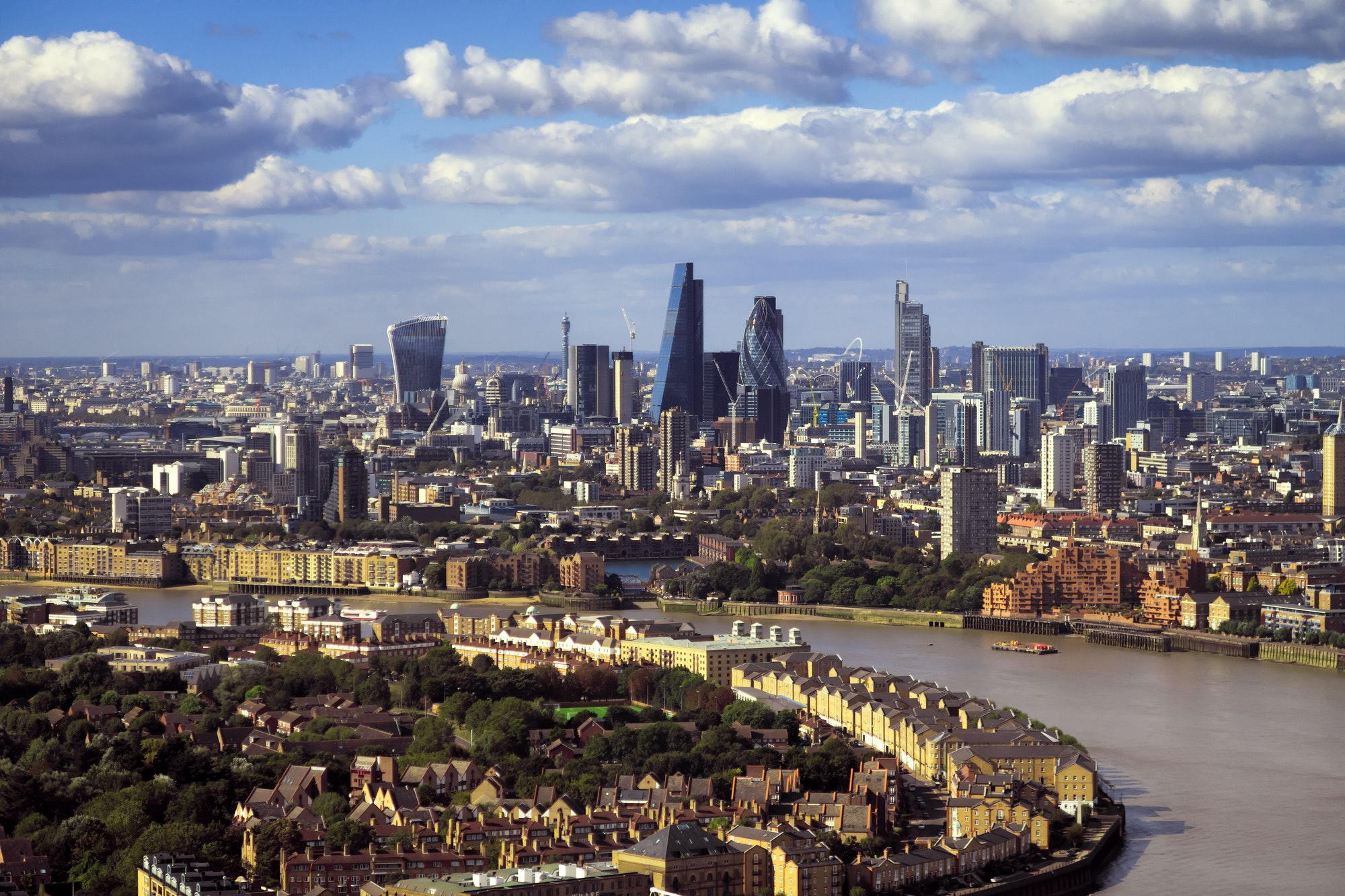London view at bank district, amazing skyscrapers and Thames river, United Kingdom